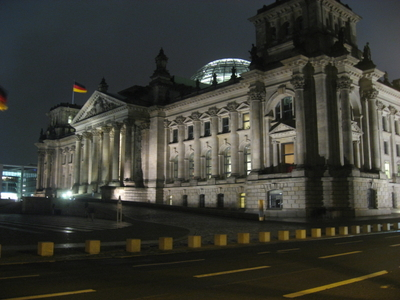 View of the west portal of the Reichstag Building in Berlin.